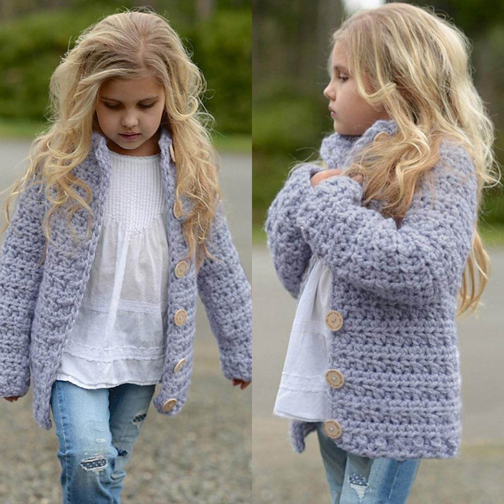 Knitted Coat Patterns 2018 Girls Sweater Toddler Kids Ba Girls Outfit Clothes Button Knitted Sweater Kids Cardigan Coat Tops For Clothes 3 7y