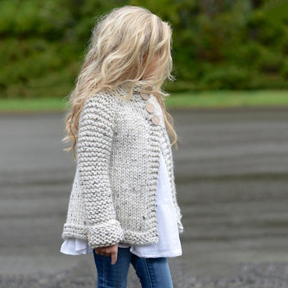 Knitted Coat Patterns Girls Plain Coloured Knit Sweater Cardigan Toddler Kids Ba Girls Outfit Clothes Button Knitted Sweater Cardigan Coat