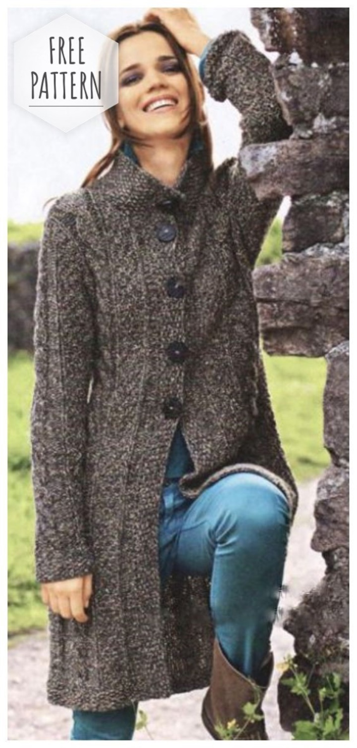 Knitted Coat Patterns Knitted Coat Of Braids And Pearl Patterns