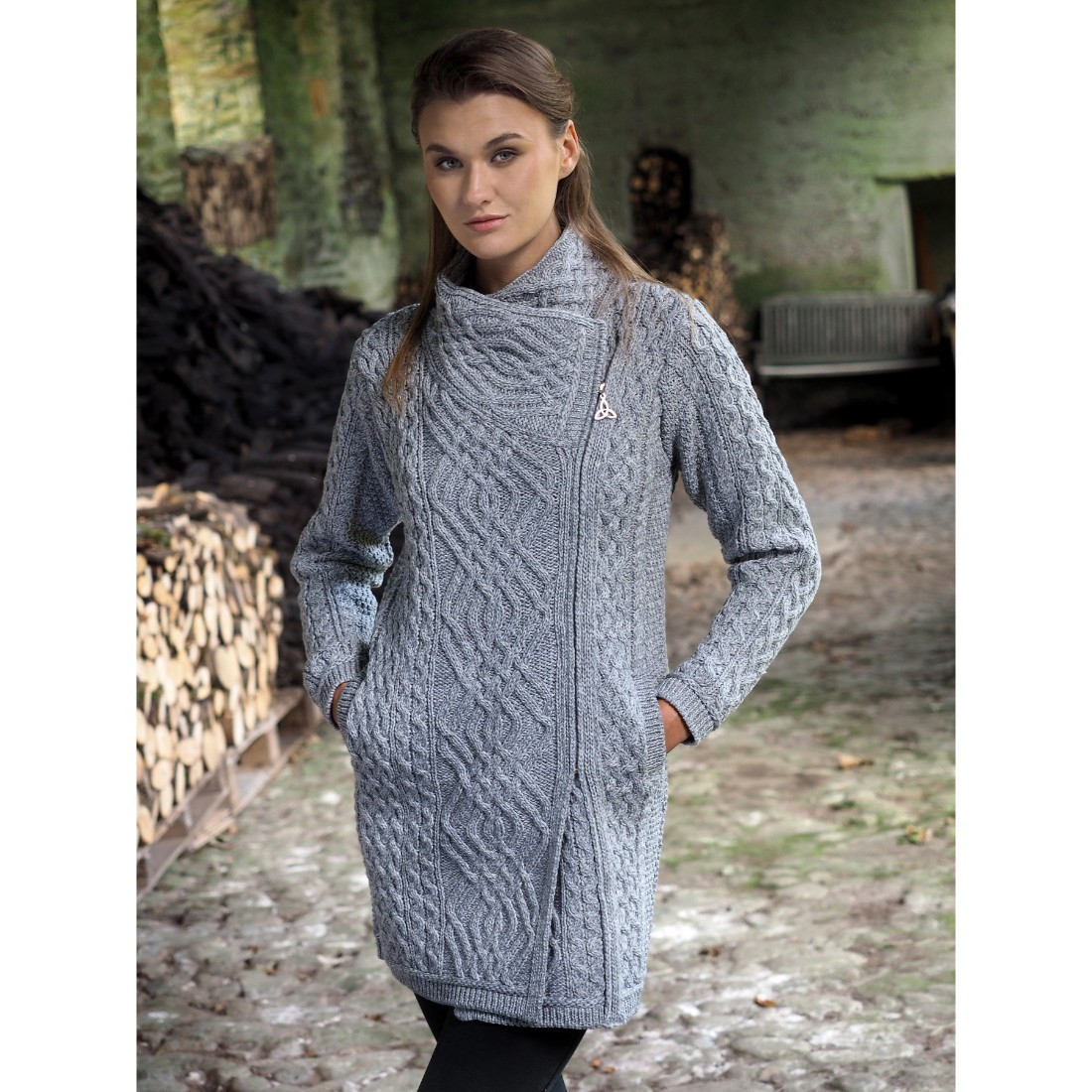 Knitted Coat Patterns Ladies Merino Wool Cable Knit Coat With Side Zip Grey Colour