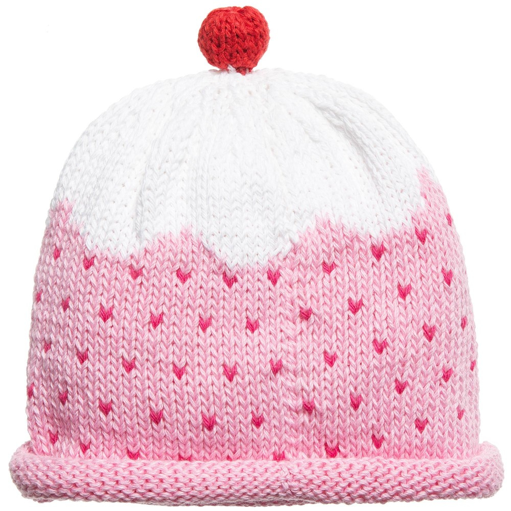 Knitted Cupcake Hat Pattern Ba Girls Cotton Knit Pink Cupcake Hat