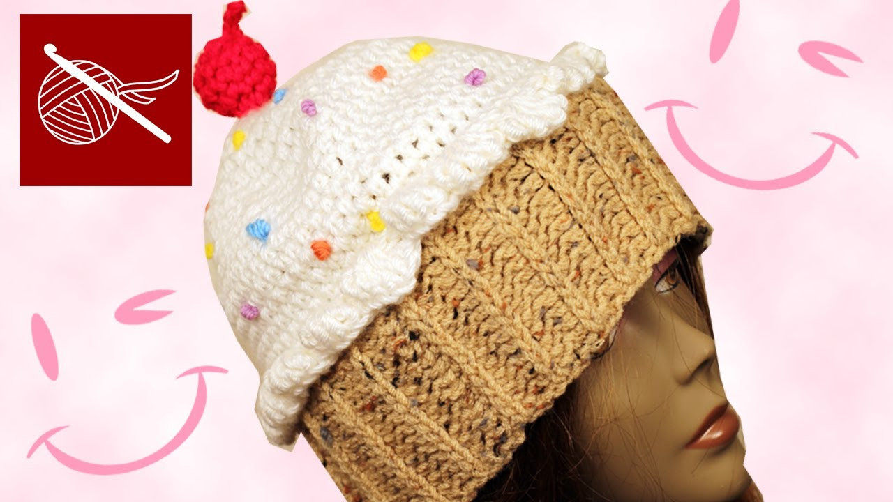 Knitted Cupcake Hat Pattern How To Make Crochet Cupcake Hat Tutorial Diy Girls Ladies Crochetgeek