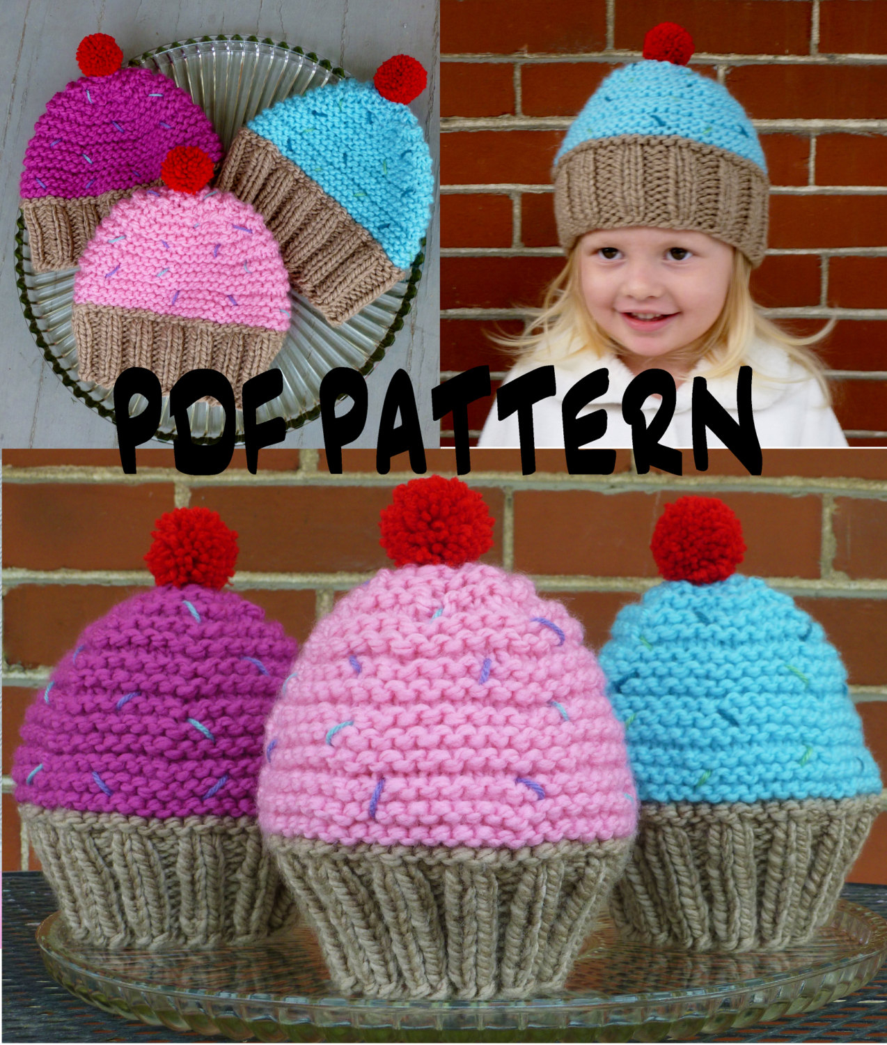 Knitted Cupcake Hat Pattern Instant Download Cupcake Hat Knitting Patternknit Cupcake Hat Patternknit Toddler Hat Patternknit Kids Hat Patternknit Girls Hat Pattern