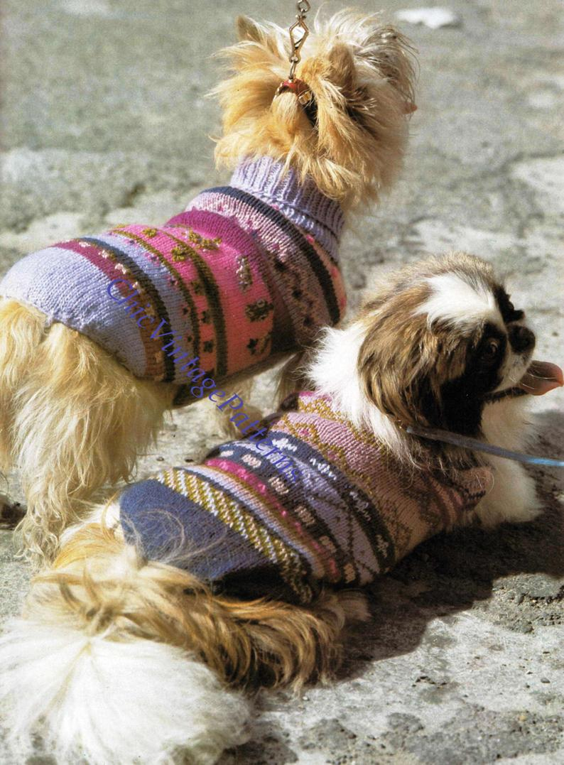 Knitted Dog Coat Pattern Knitted Dog Coats Turtleneck Jaquard Coats Pdf Knitting Pattern Winter Coats Make Your Dog Stand Out From His Friends
