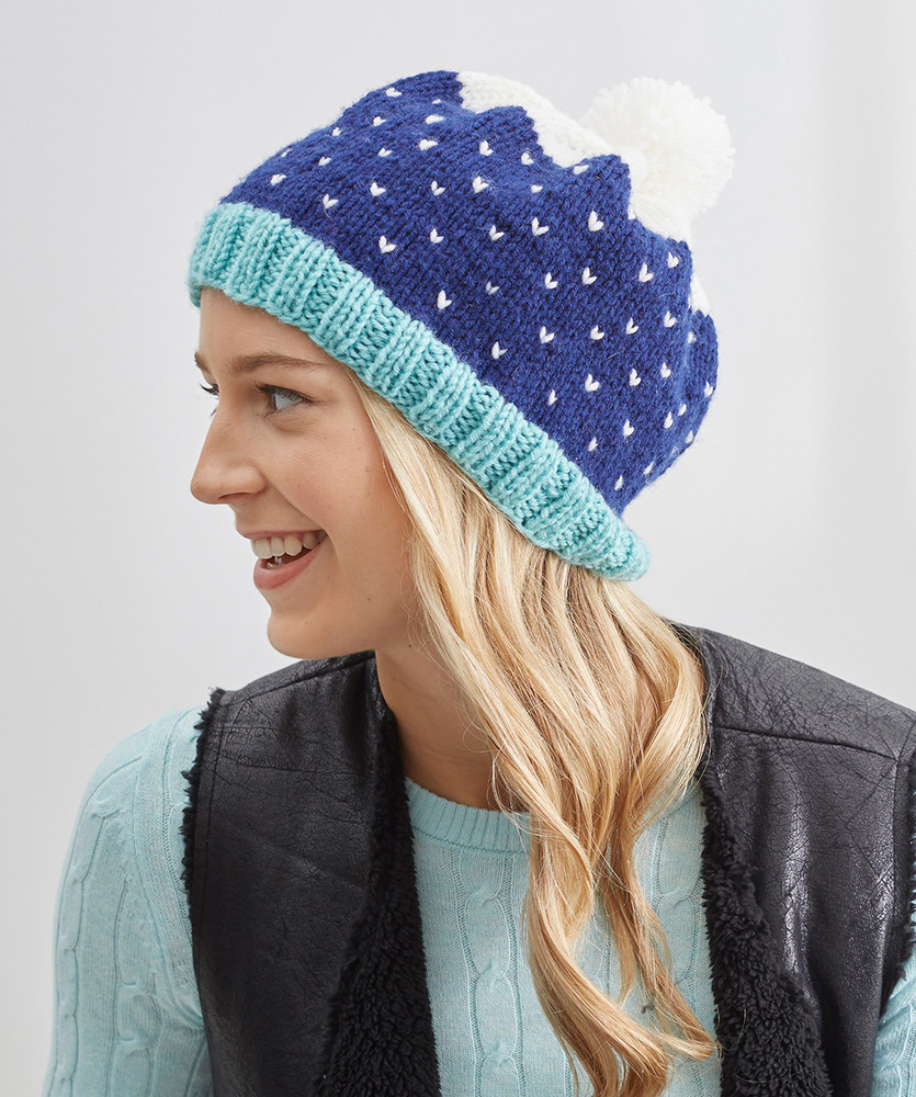 Knitted Hats Patterns Snow Speckled Hat Red Heart