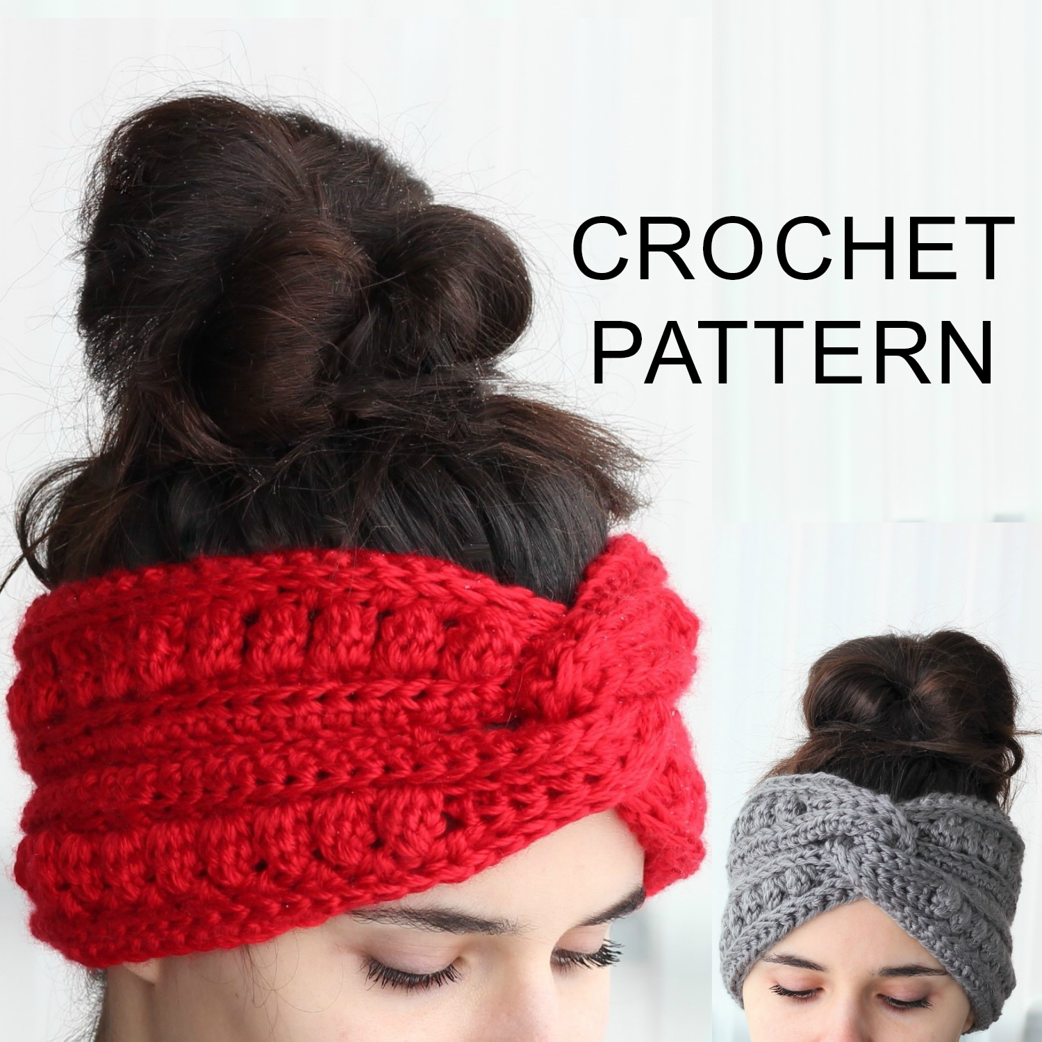Knitted Headband With Flower Pattern Aura Headband Ear Warmer Crochet Pattern Pdf