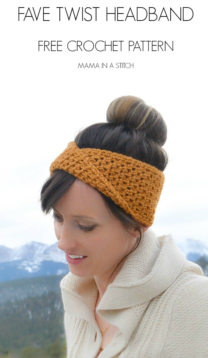 Knitted Headband With Flower Pattern Golden Fave Twist Headband Free Crochet Pattern Mama In A Stitch