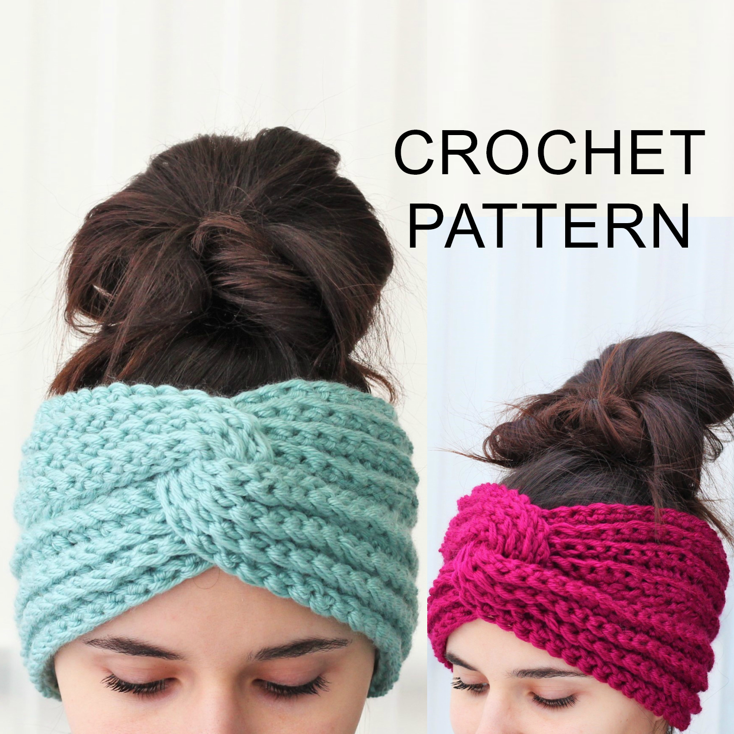 Knitted Headband With Flower Pattern Hana Headband Ear Warmer Crochet Pattern Pdf