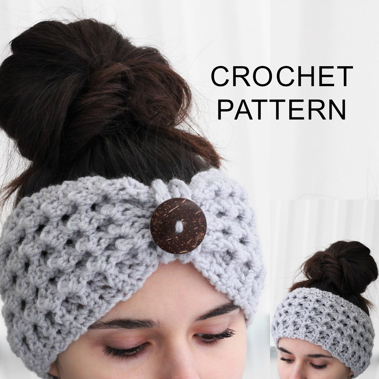 Knitted Headband With Flower Pattern Lida Headband Ear Warmer Crochet Pattern Pdf