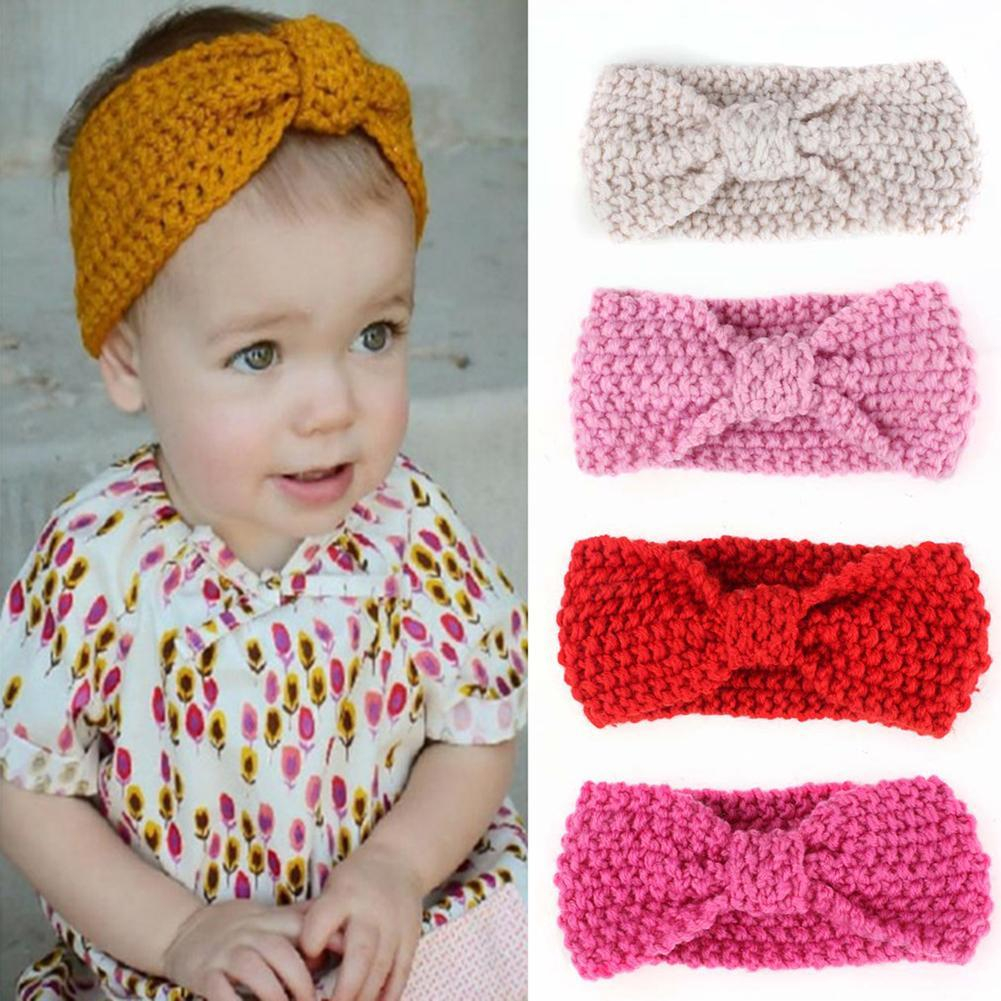 Knitted Headband With Flower Pattern Lovely Kids Girls Bowknot Knitted Headband Hair Band Headwear Photo Prop