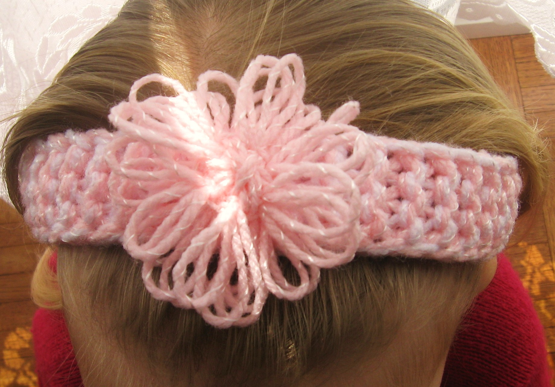 Knitted Headband With Flower Pattern Pretty Ba Headband Guppygirl