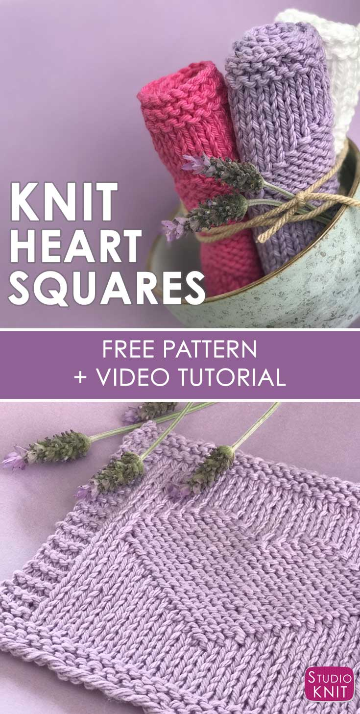 Knitted Heart Pattern Easy Heart Stitch Knitting Pattern Studio Knit