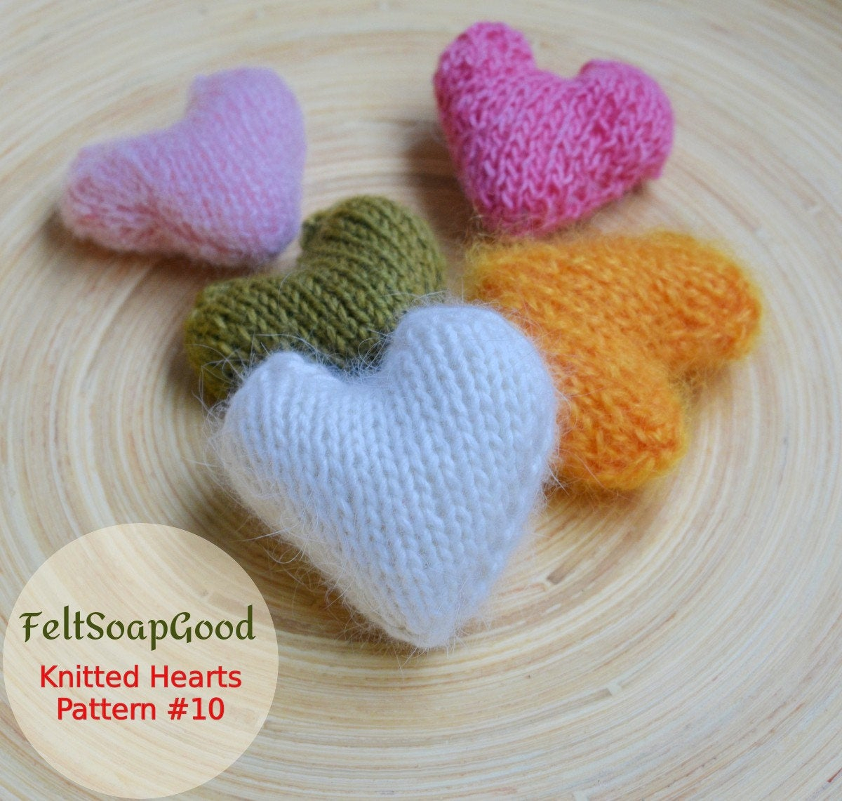 Knitted Heart Pattern Grandmother Gift Heart Pattern Beginners Flat Knitting Tutorial