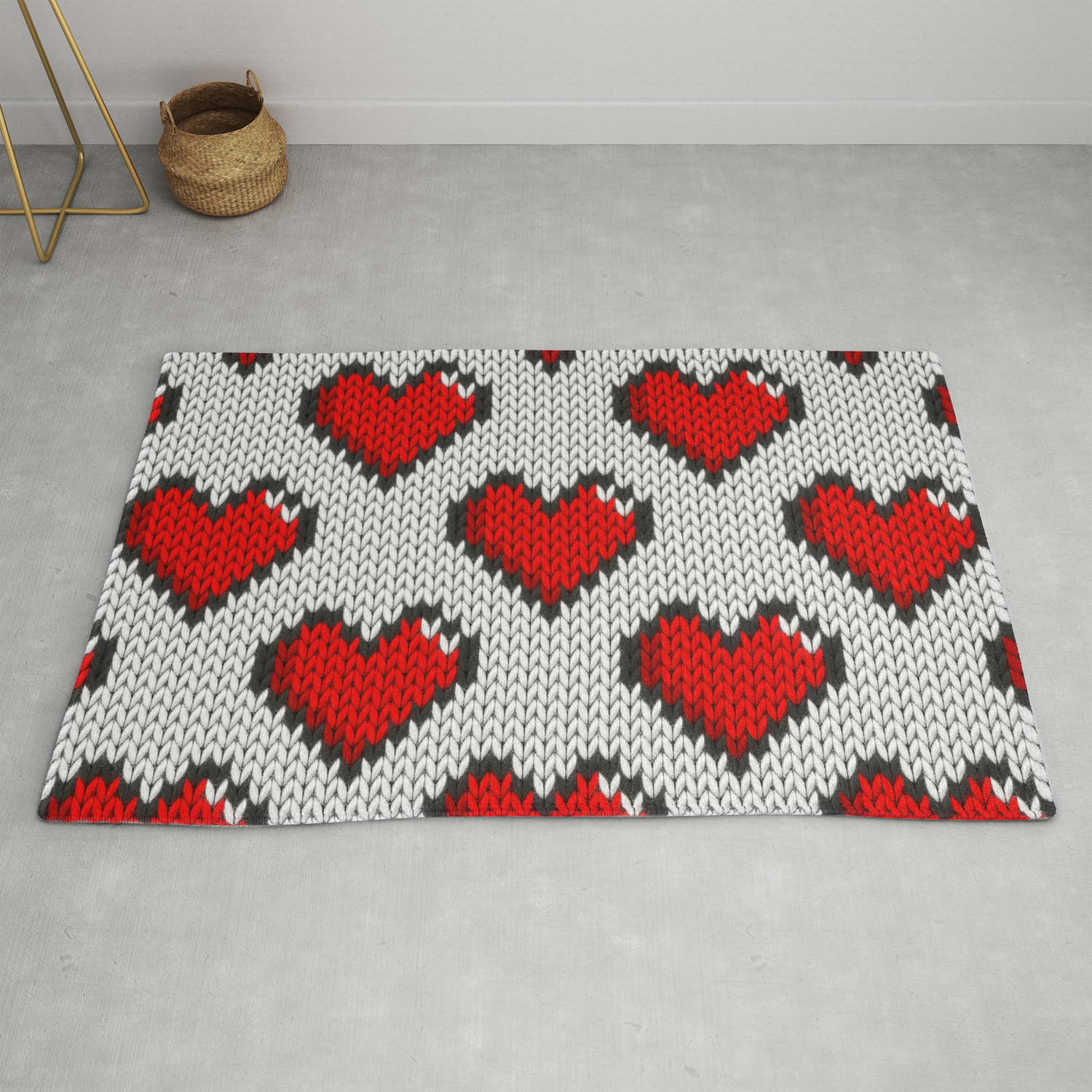 Knitted Heart Pattern Knitted Heart Pattern White Rug Knittedcake