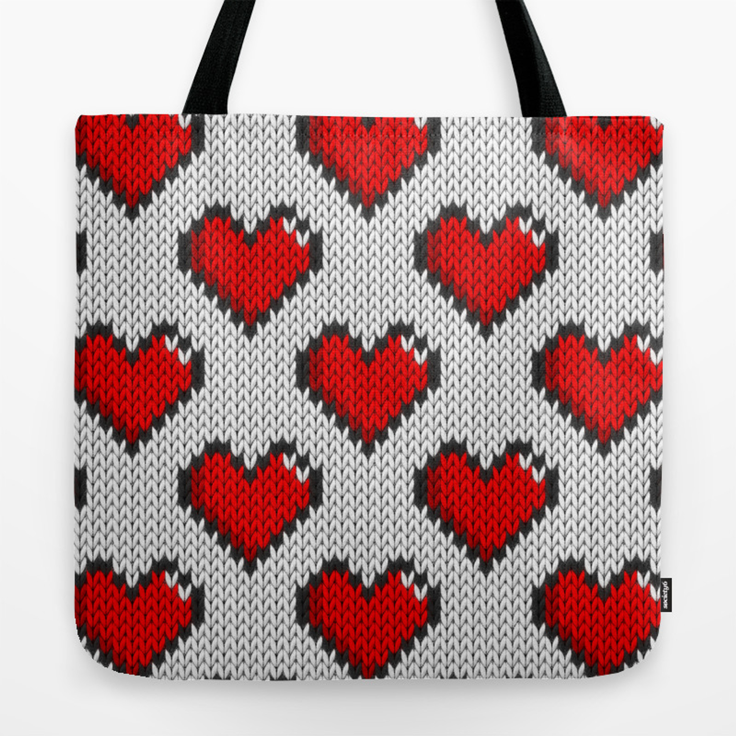 Knitted Heart Pattern Knitted Heart Pattern White Tote Bag
