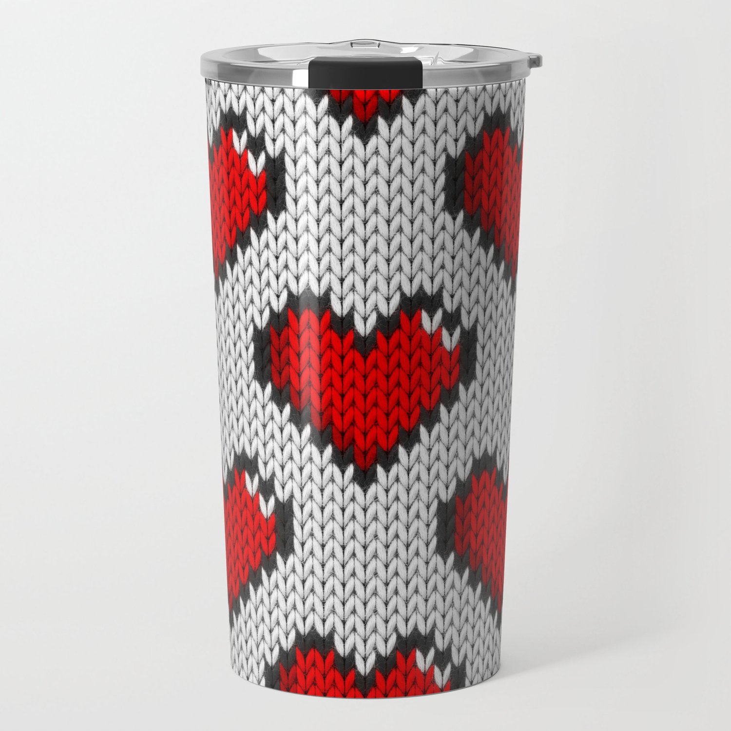 Knitted Heart Pattern Knitted Heart Pattern White Travel Mug