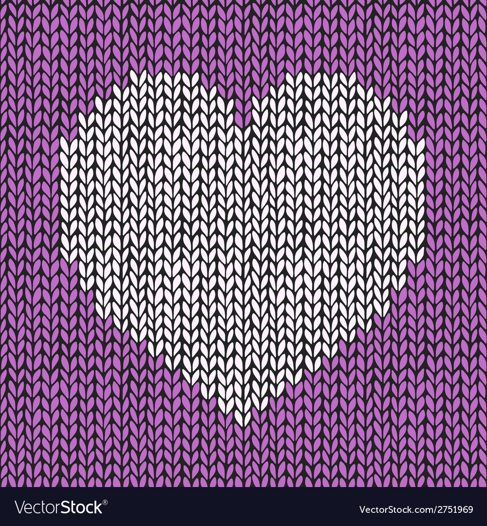 Knitted Heart Pattern Seamless Pattern With Hand Drawn Knitted Heart