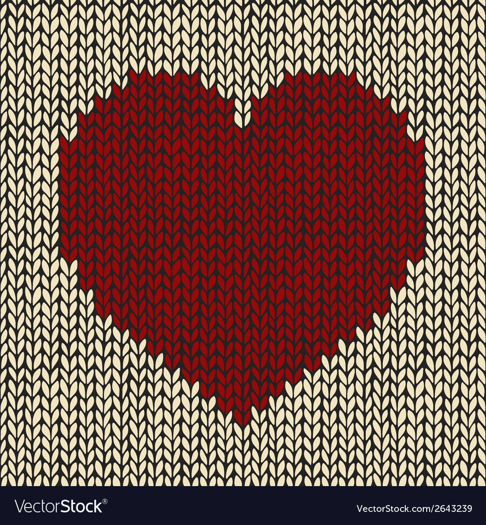 Knitted Heart Pattern Seamless Pattern With Red Knitted Heart