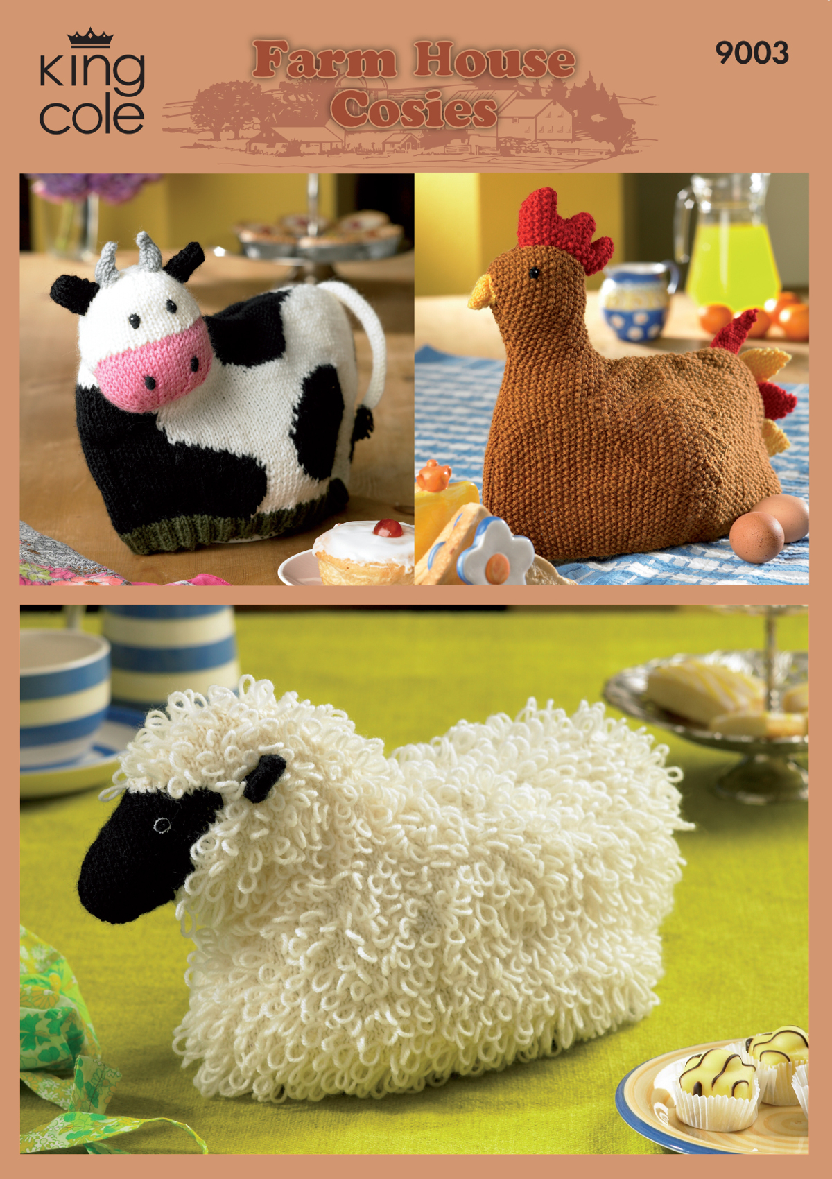 Knitted Hen Pattern Details About King Cole Double Knitting Pattern Cow Hen Sheep Teapot Warmer Tea Cosies 9003