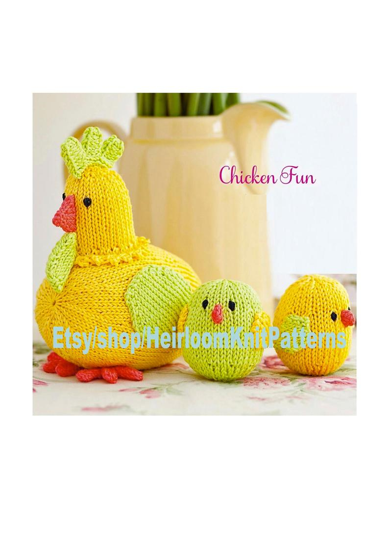 Knitted Hen Pattern Mother Hen And Chicks Knitting Pattern Pdf Easter Decor Farm Animal Ba Child Toy Dk 8ply Knitting Pattern Instant Download Pdf 166