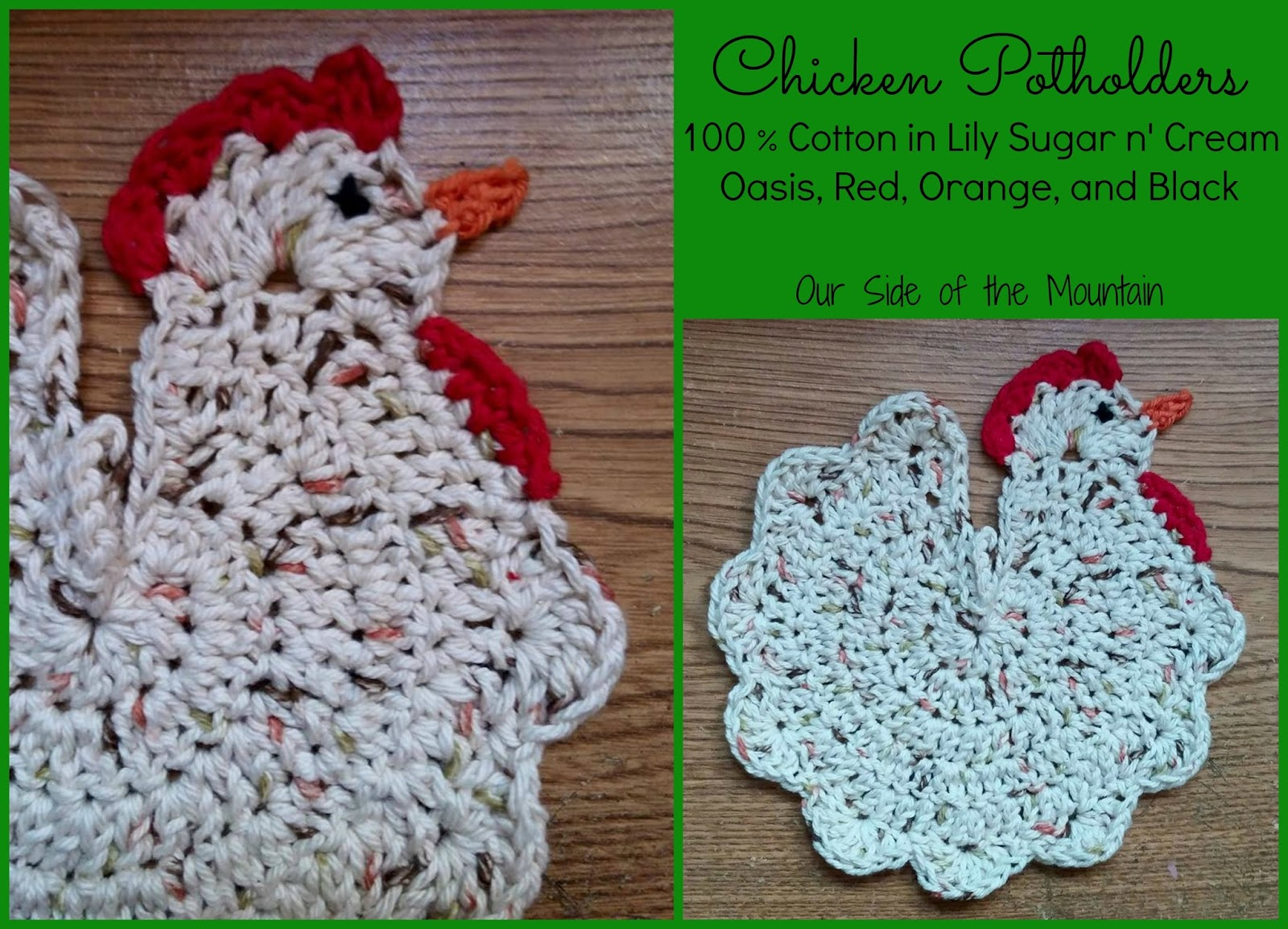 Knitted Hen Pattern Our Side Of The Mountain Creative Crochet Chicken Potholders