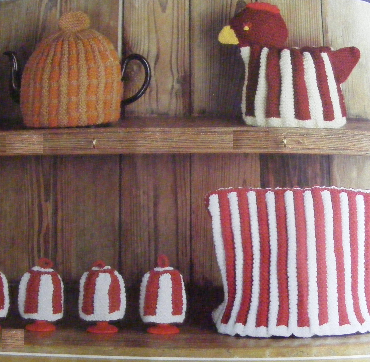 Knitted Hen Pattern Tea Pot Cosy Hen Egg Bowl Cover And Egg Cup Cosies Knitting