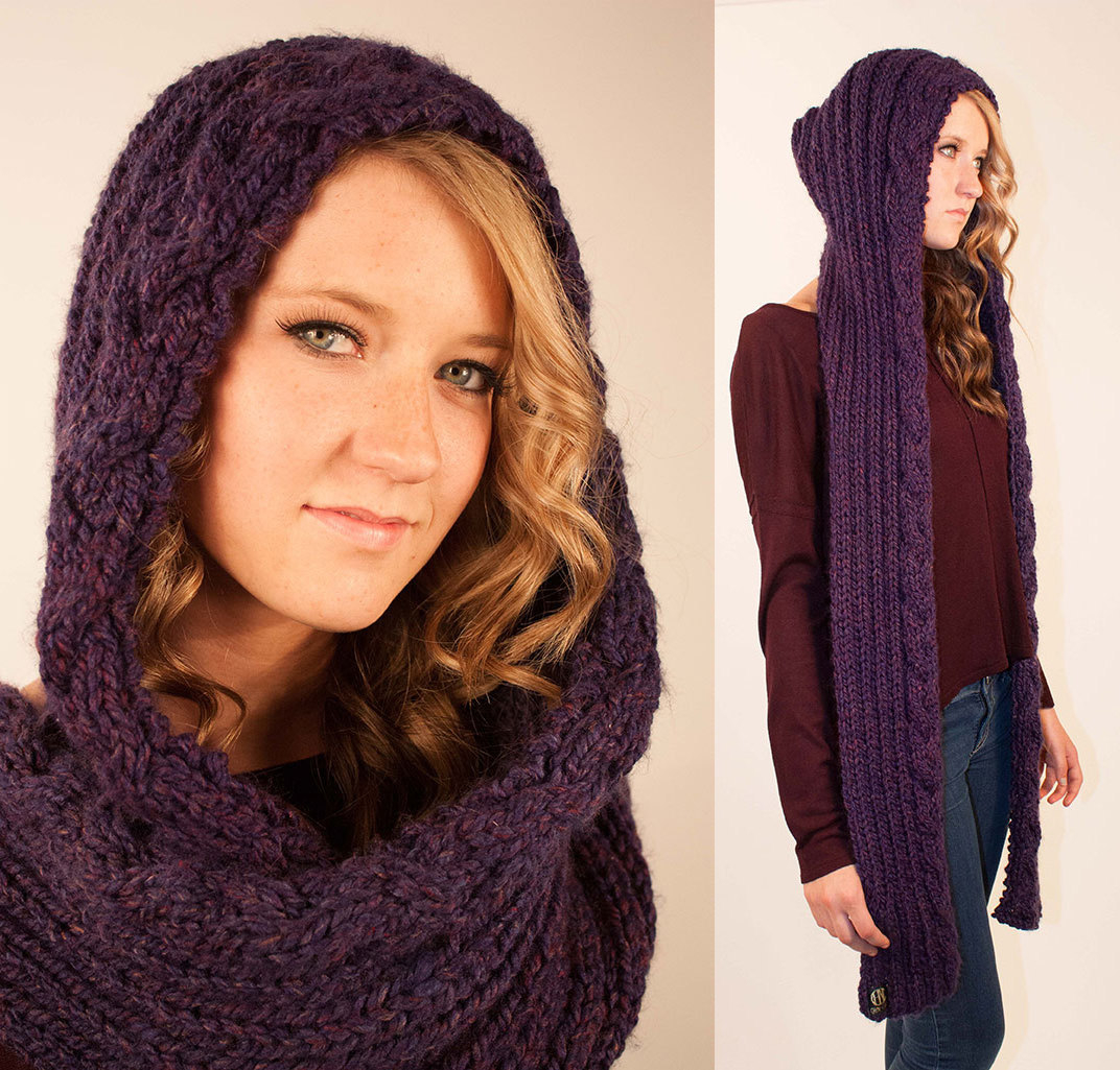 Knitted Hood Scarf Pattern 14 Hooded Scarf Knitting Pattern The Funky Stitch