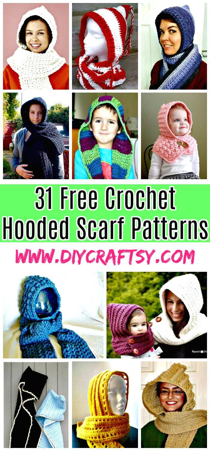 Knitted Hood Scarf Pattern 31 Free Crochet Hooded Scarf Patterns Diy Crafts