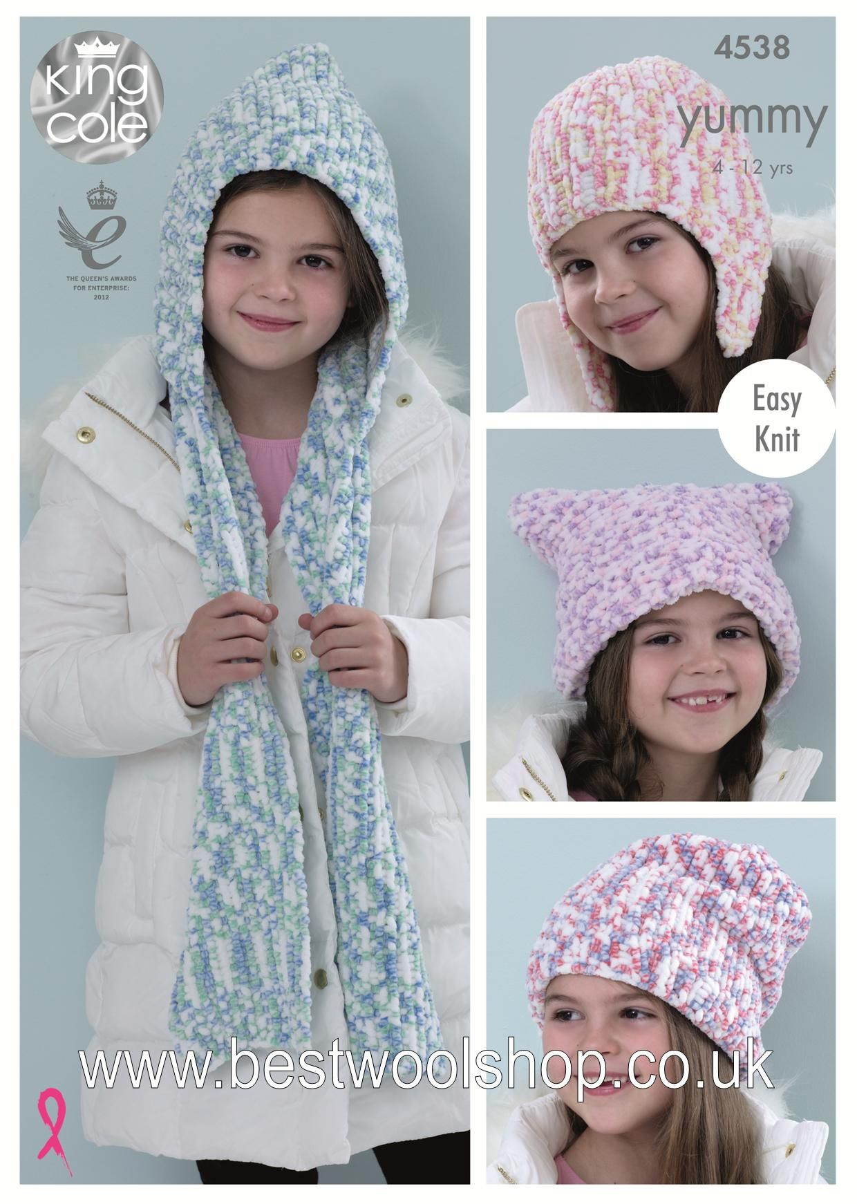 Knitted Hood Scarf Pattern 4538 King Cole Yummy Chunky Easy Knit Hooded Scarf Hat Knitting Pattern 4 Options To Fit 4 To 12 Years
