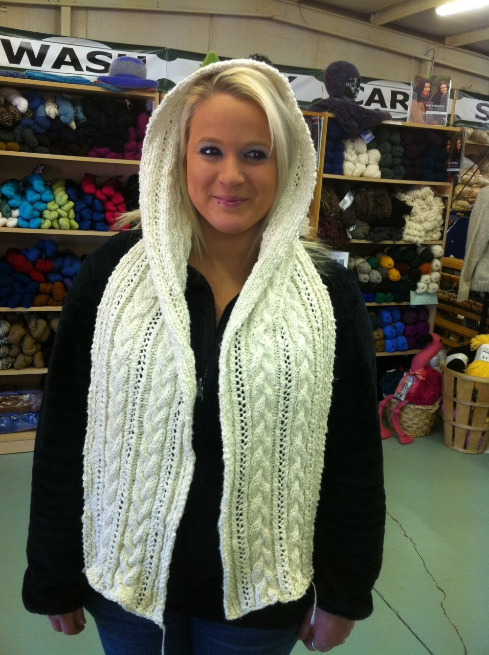 Knitted Hood Scarf Pattern Cable And Lace Hooded Scarf