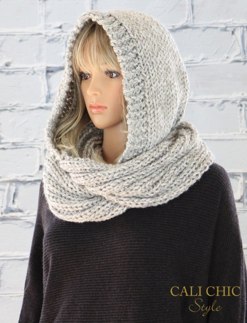 Knitted Hood Scarf Pattern Hooded Scarf Pattern Celine Knit Hooded Infinity Scarf Pattern 802 Knitting Scarf Pattern Digital Download Pdf Pattern