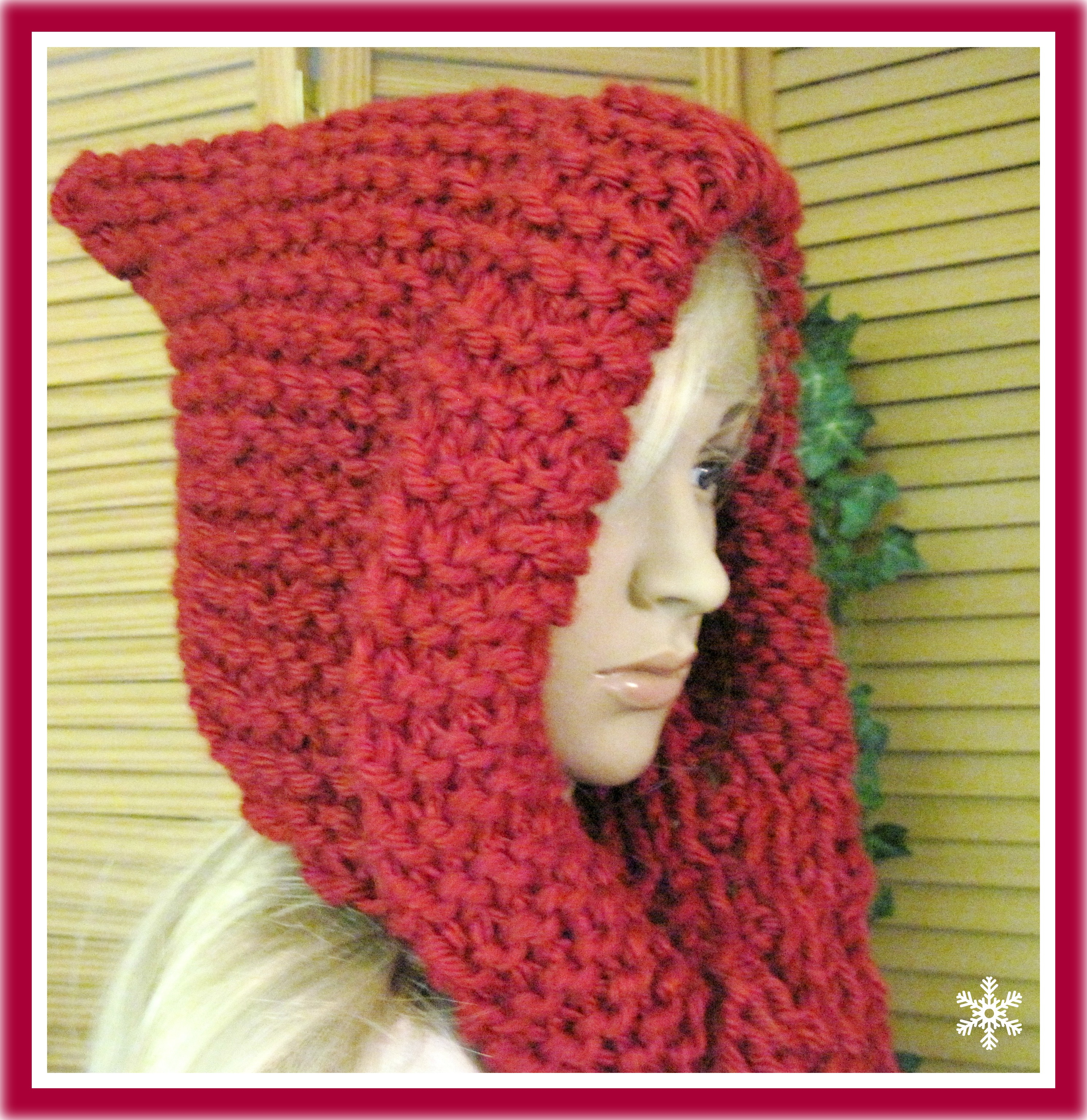 Knitted Hood Scarf Pattern Little Red Riding Hood Hooded Scarf In Bulky Yarn Knitting Pattern Adult Size