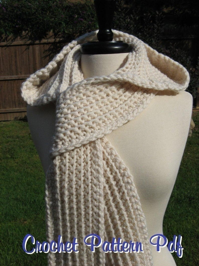 Knitted Hood Scarf Pattern Nordic Hooded Scarf Crochet Pattern Pdf Instant Download Available