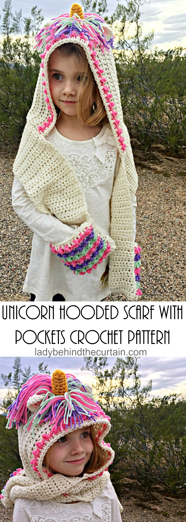 Knitted Hood Scarf Pattern Unicorn Hooded Scarf With Pockets Crochet Pattern