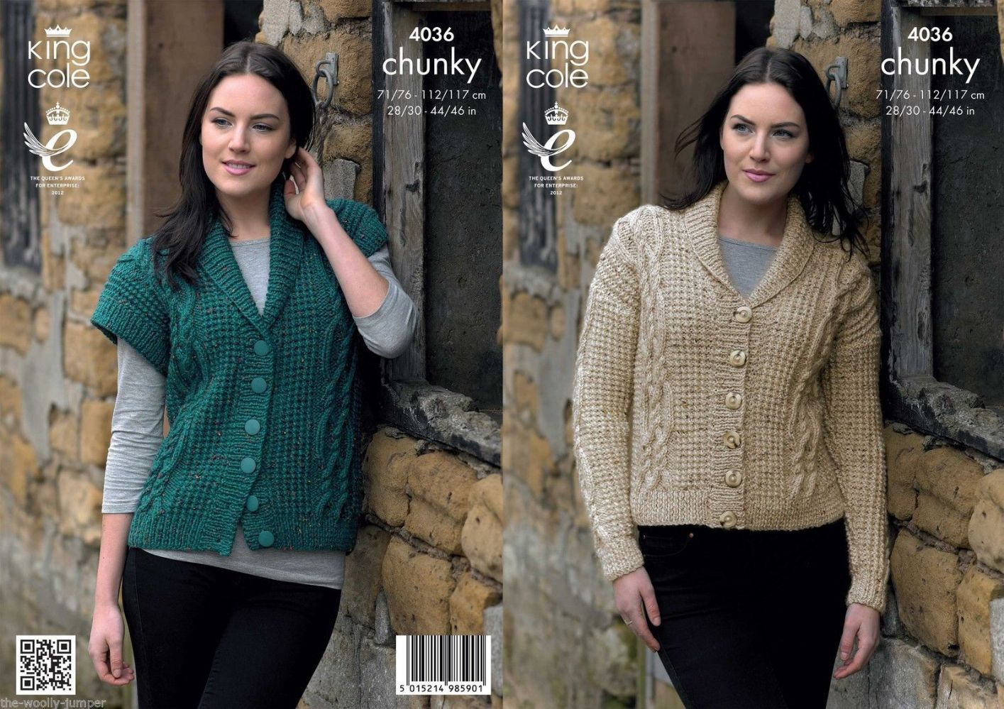 Knitted Jacket Patterns 4036 King Cole Chunky Tweed Cardigan Jacket Waistcoat Knitting Pattern To Chest 28 To 46