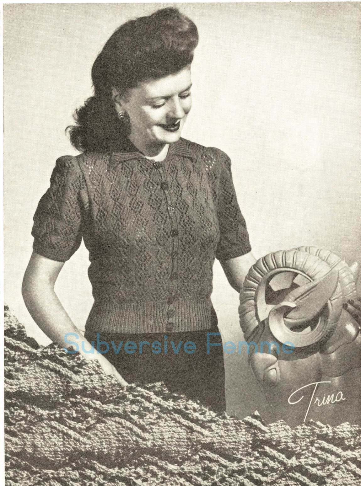 Knitted Jacket Patterns Free Free Knitting Pattern Trina Cardigan Jacket C 1940s Subversive