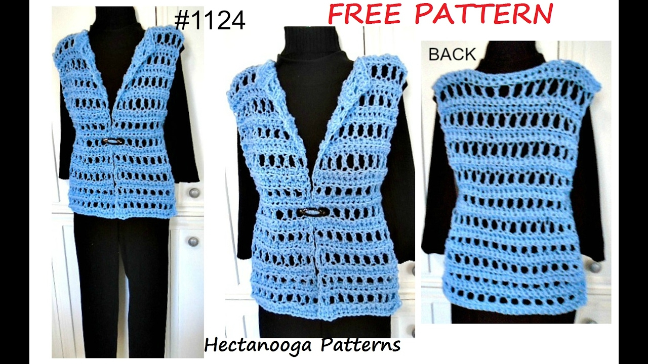 Knitted Jacket Patterns Free Womens Crochet Vest Free Pattern 1124 Quick Easy Summer Vest Sweaters Tops