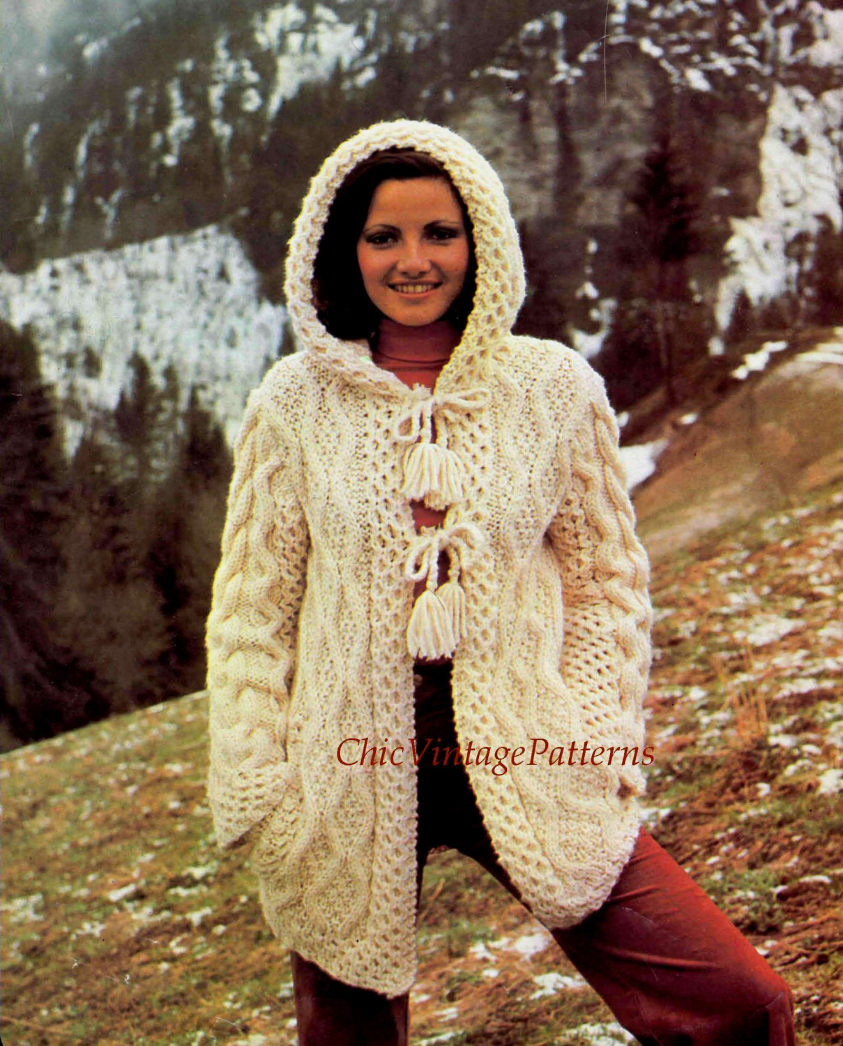 Knitted Jacket Patterns Knitted Jacket Pattern Ladies Aran Hooded Cardigan Stylish Warm And Cosy Long Line Knit Instant Download Hooded Jacket