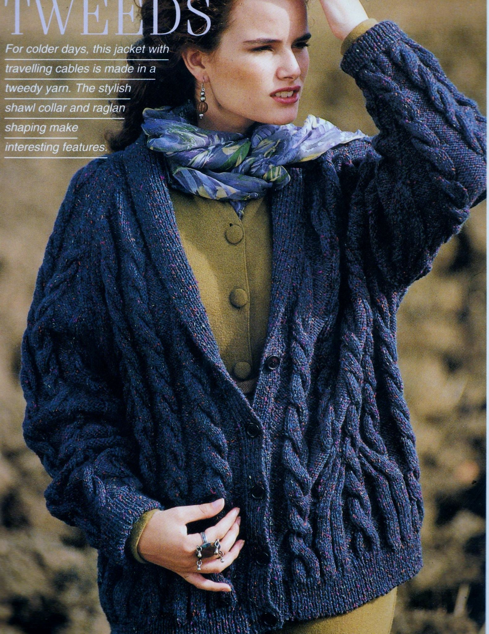 Knitted Jacket Patterns Pdf Digital Download Vintage Knitting Pattern To Make A Ladies Loose Fitting Travelling Cable Cardigan Jacket With Shawl Collar In Dk
