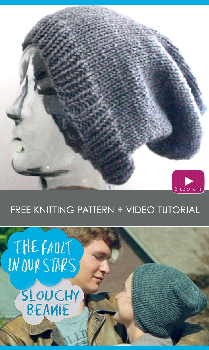 Knitted Mens Hat Patterns Slouchy Beanie Knit Hat Pattern With Video Tutorial Studio Knit