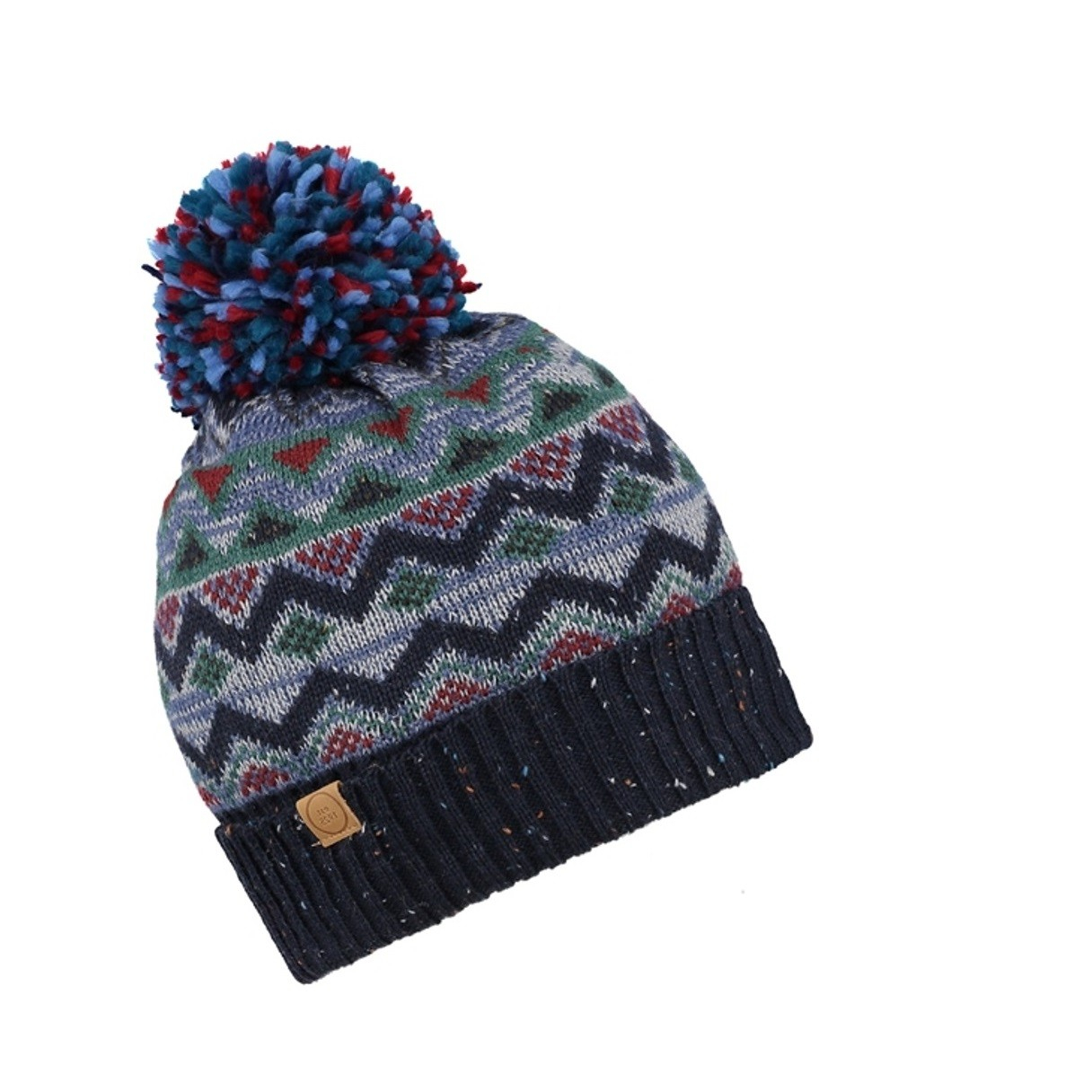 Knitted Pattern Cooper Fair Isle Knitted Pattern Wool Blend Bobble Hat Brown Or Blue