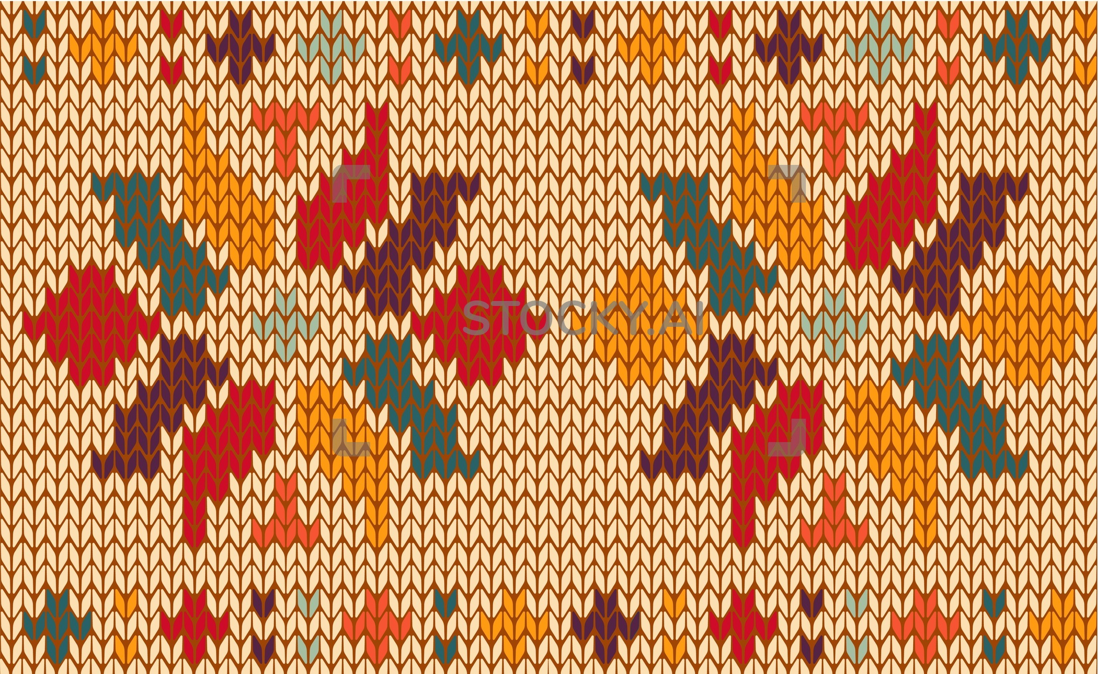 Knitted Pattern Image Of Retro Floral Knitted Pattern Background