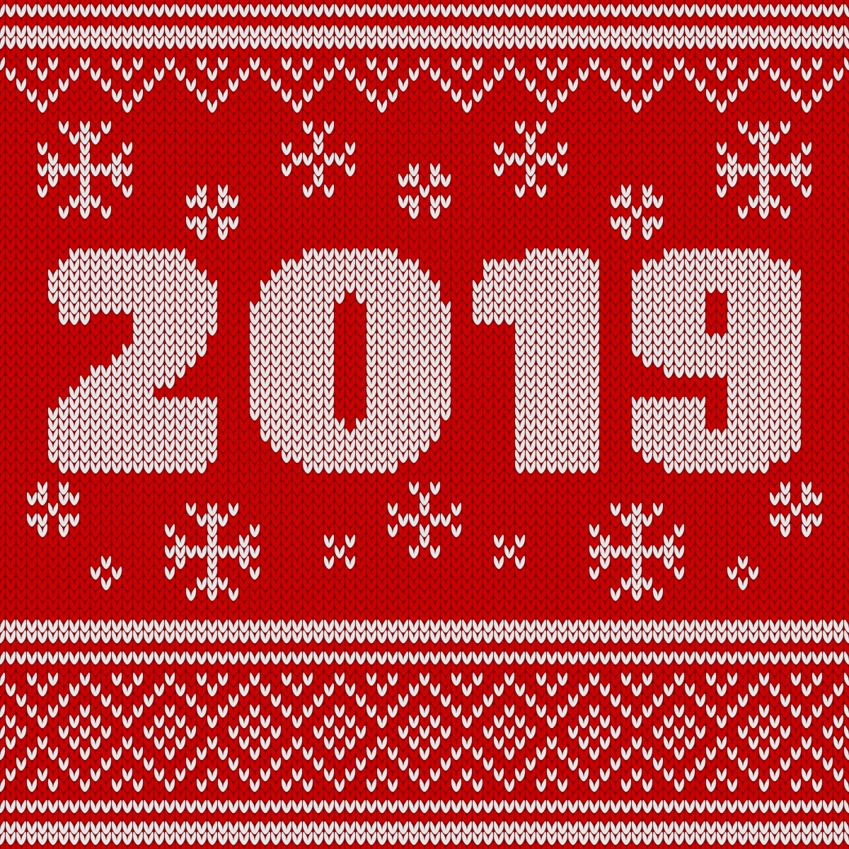Knitted Pattern New Year Seamless Knitted Pattern With Number 2019 Knitting Sweater
