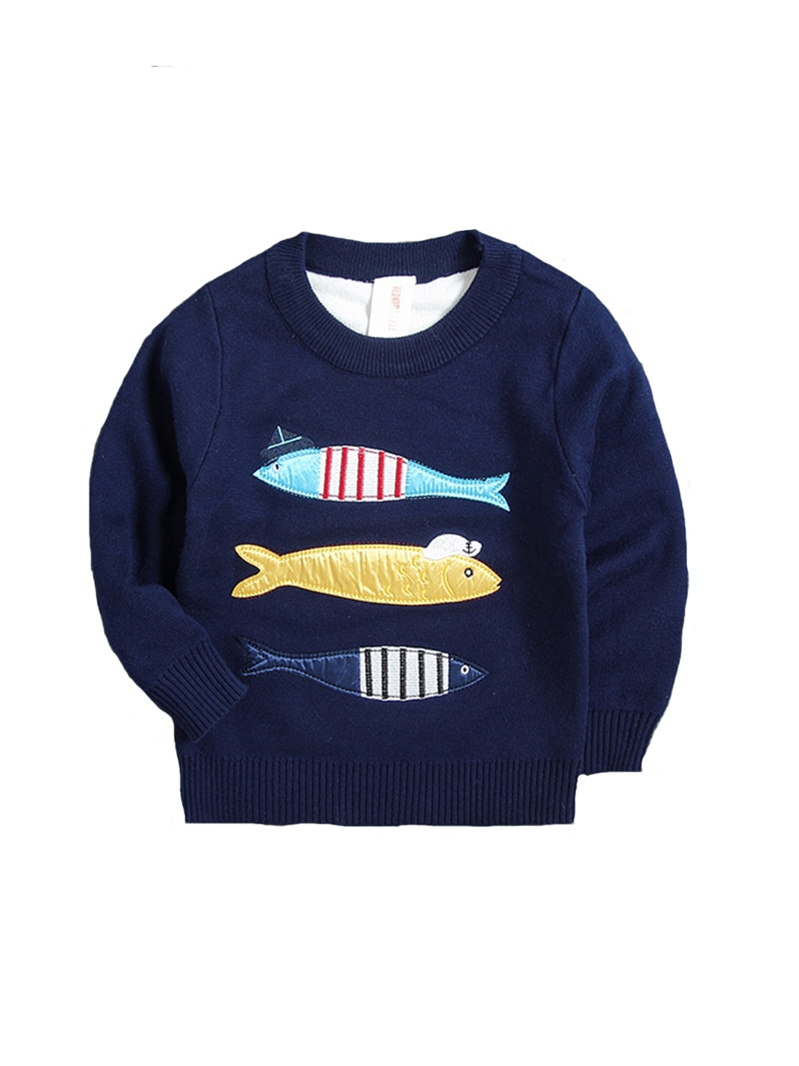 Knitted Pullover Sweater Patterns Boys Sweater Cartoon Fish Pattern O Neck Long Sleeve Knitted Pullover