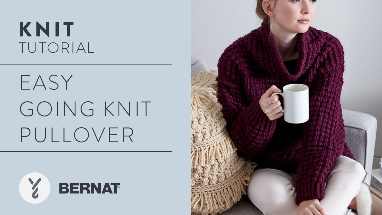Knitted Pullover Sweater Patterns Knit Easy Going Knit Pullover In Bernat Roving Kristen Mangus