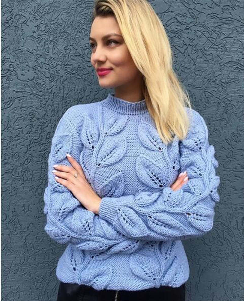 Knitted Pullover Sweater Patterns Rugod Leaves Pattern Design Crochet Sweater Women 2018 Autumn Winter Warm Knitted Pullover Female Sweaters Befree Sueter Mujer