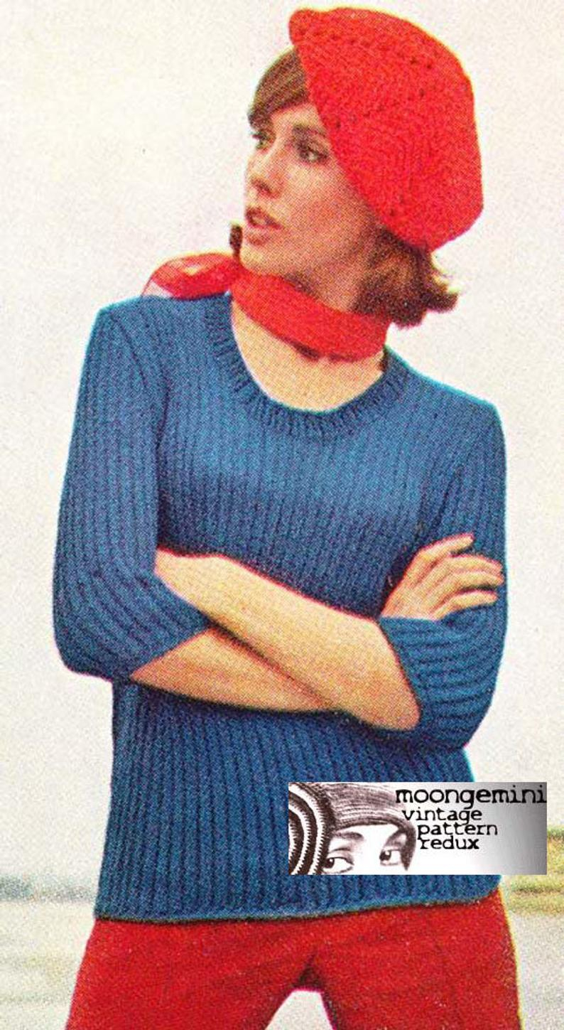 Knitted Pullover Sweater Patterns The Paris Poor Boy Knitted Pullover Sweater Pattern Vintage 60s Knitting Pdf Digital Download