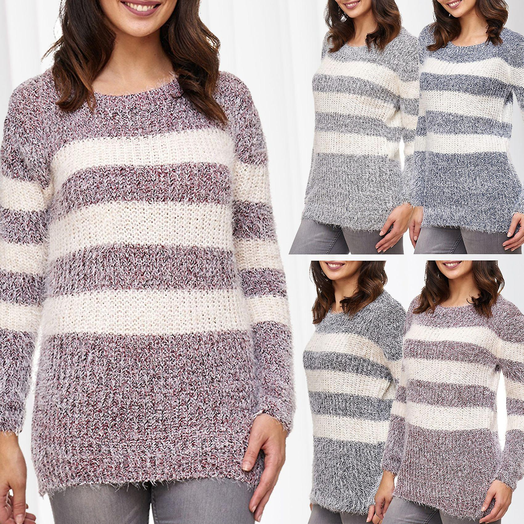 Knitted Pullover Sweater Patterns Womens Knit Pullover Sweat Shirt Sweater Longsleeve Cozy Winter Stripes Pattern
