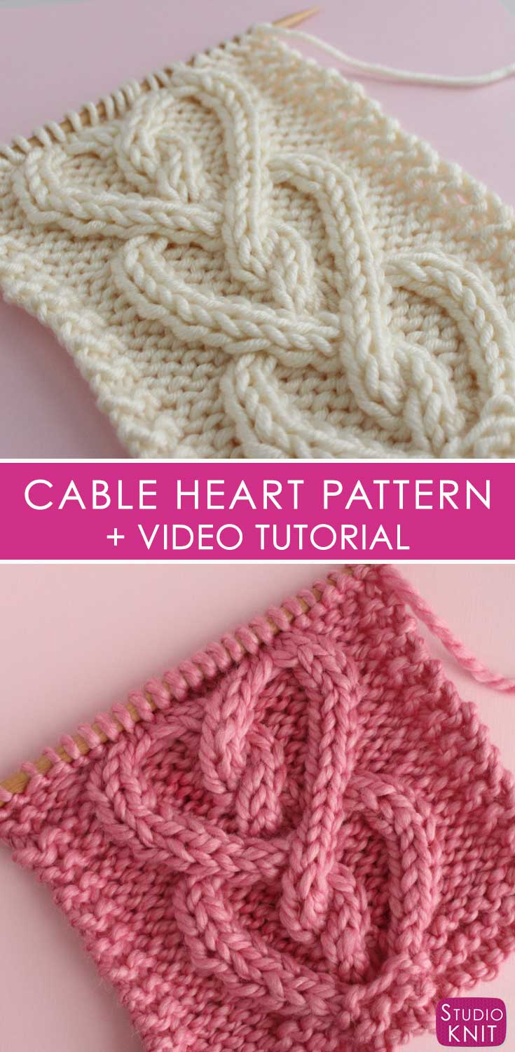 Knitted Scarf Patterns Pinterest Cable Heart Stitch Knitting Pattern Studio Knit