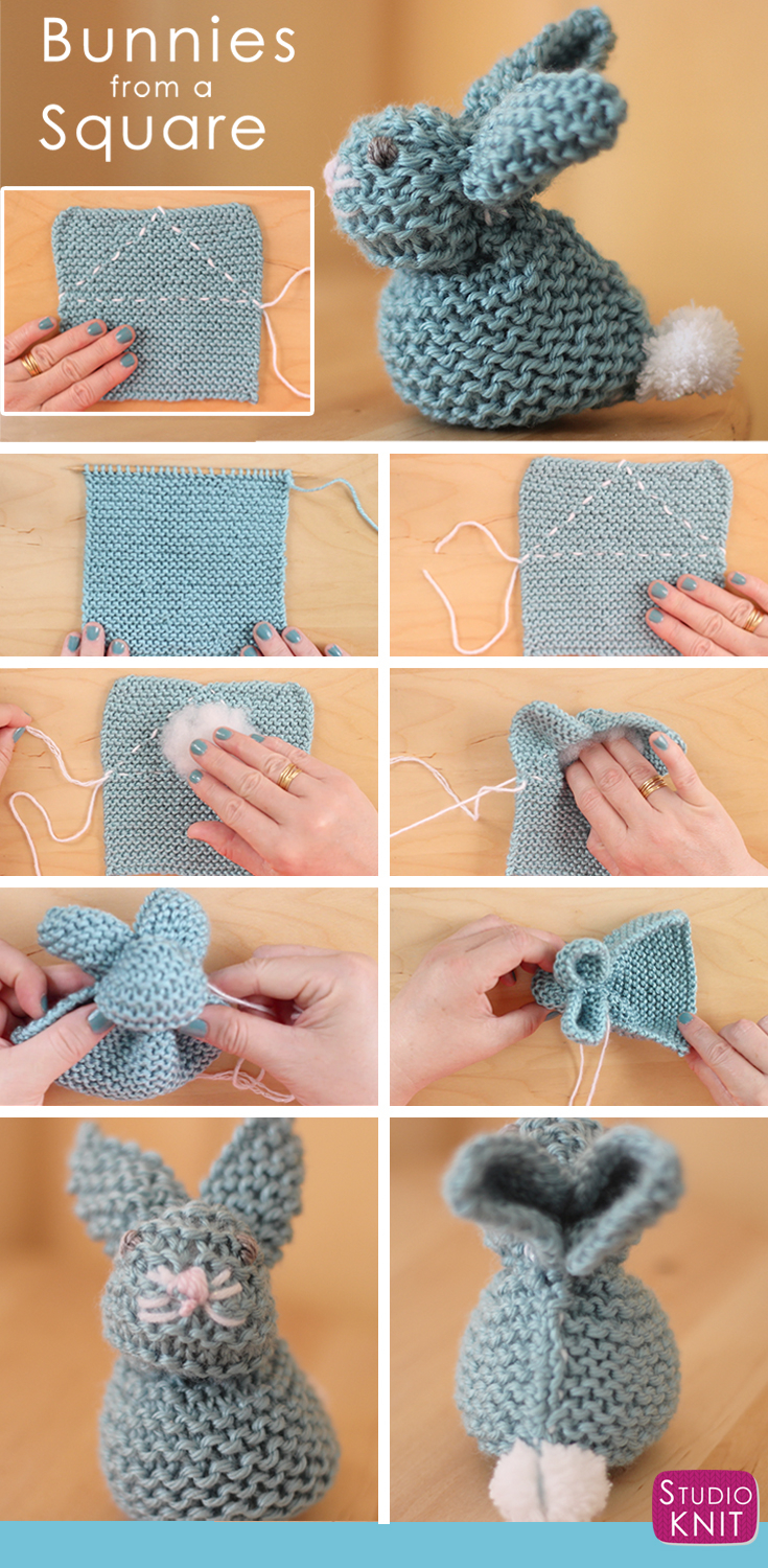 Knitted Scarf Patterns Pinterest How To Knit A Bunny From A Square With Video Tutorial Studio Knit